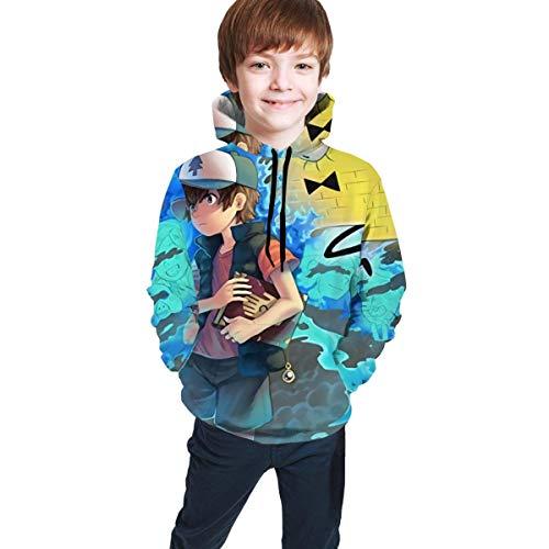 maichengxuan Gravity Falls - Sudadera con capucha unisex de manga larga para niño y niña, impresión digital 3D, 14-16 años