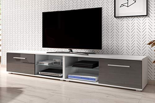 Tenus Double Meuble TV Moderne 200 cm Blanc Mat/Gris Brillant