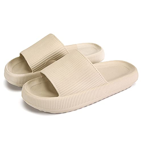 Pillow Slides Slippers, Massage Shower Bathroom Slipper, Non-Slip Quick Drying Open Toe Super Soft Extra Thick Sole Sandals Cloud Cushion Slide Home Slippers for Women and Men EVA Platform Shoes