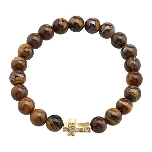 The Lord of the Tools - Pulsera de piedra natural elástica para yoga y perlas de ojo de tigre para hombres y mujeres, 13,5 x 9 mm