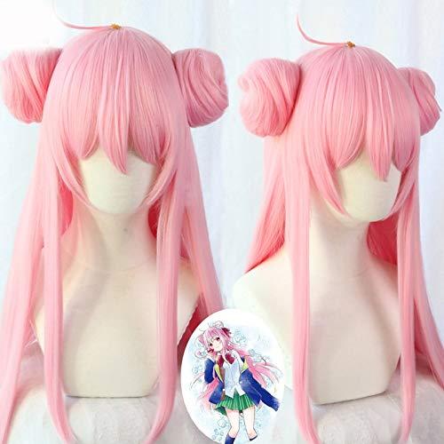 Anime Happy Sugar Life Satou Matsuzaka Cabello largo y liso + Bollos Peluca rosa Halloween Cosplay + Peluca CapRosa