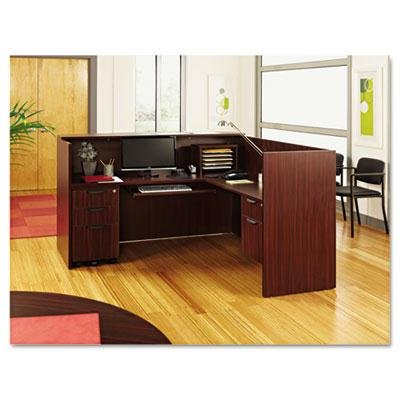 Alera - Valencia Series Reception Desk W/Counter 71W X 35-1/2D X 42-1/2H Mahogany