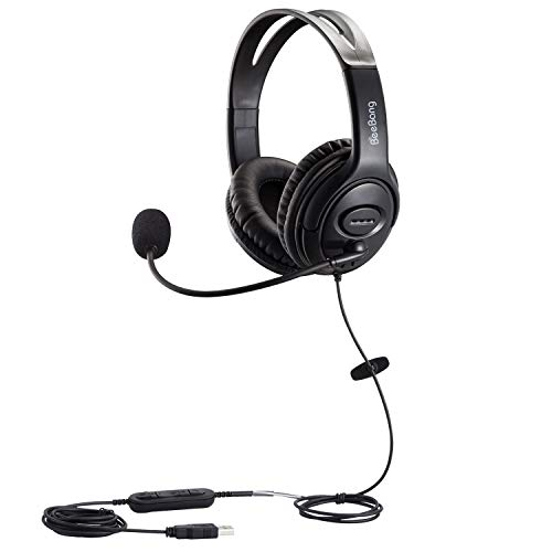 Beebang USB Headset with Noise Cancelling Microphone and Volume Control for Call Center PC Chat Skype Dragon Nuance Voice Recognition Speech Dictation