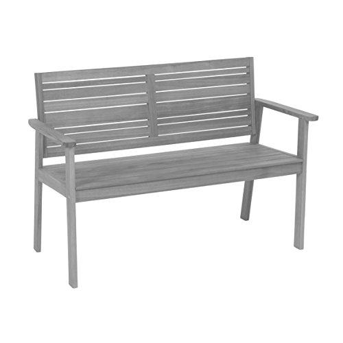 Greemotion Holz Gartenbank Maui in Grau-2 Holzbank mit Rückenlehne-Garten Friesenbank wetterfest-Bank zum draußen Sitzen aus FSC Akazienholz, 11,5 x 6 x 1,4 cm