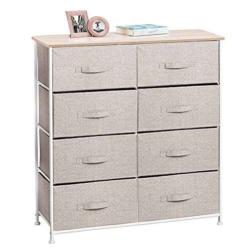 mDesign Vertical Dresser Storage Tower - Sturdy Steel Frame, Wood Top, Easy Pull Fabric Bins - Organizer Unit for Bedroom, Hallway, Entryway, Closets - Textured Print, 8 Drawers - Linen/Tan