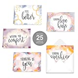 Simple Sentiments Greeting Cards / 25 Encouragement Greeting Cards With Envelopes / 5 Thoughtful Designs