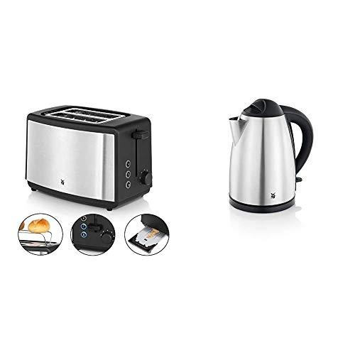 WMF Bueno Edition Toaster Edelstahl, Doppelschlitz- Toaster mit Brötchenaufsatz, 7 Bräunungsstufen, 800 W, edelstahl matt & BUENO Wasserkocher, 1,7 l, 2400 W, Kalk-Wasserfilter, cromargan matt/silber