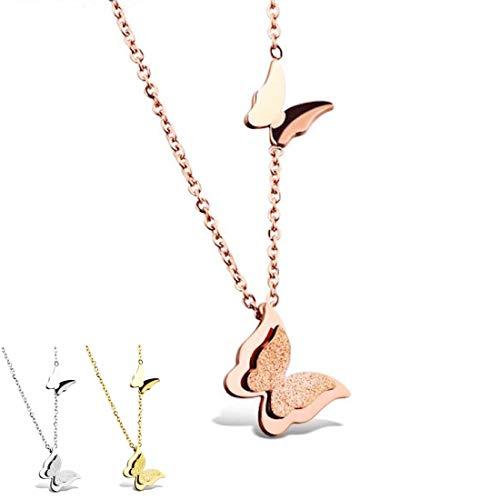 Kim Johanson Damen Halskette mit Anhänger *Schmetterling* aus Edelstahl in Roségold, Silber & Gold inkl. Schmuckbeutel (Roségold)