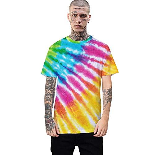 Kurzarm Rundhals Sweatshirt Lose Beiläufig Tie-Dye Farbwechsel T-Shirt männlich 3DT Shirt Kurzarm Rundhals Digitaldruck lässig Kurzarm-Color_5XL