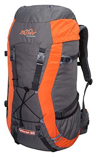 Tashev Outdoors Vihren Trekkingrucksack Wanderrucksack Damen Herren Backpacker Rucksack Daypack groß 40L, 50L und 70L (Hergestellt in EU) (Grau & Orange, 50L)