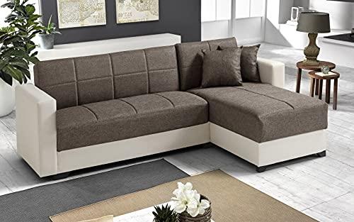Sofá cama esquinero de 2 plazas – Piel sintética marfil, tejido café – chaise longue derecha – (225 x 158 x 86 cm)