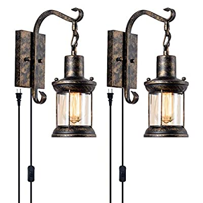 GLADFRESIT Vintage Wall Light Oil Rubbed Bronze, Glass Shade Industrial Wall Sconce Lighting Fixture for Indoor Home Décor Headboard Bedside Corridor Porch Rustic Rentro Style