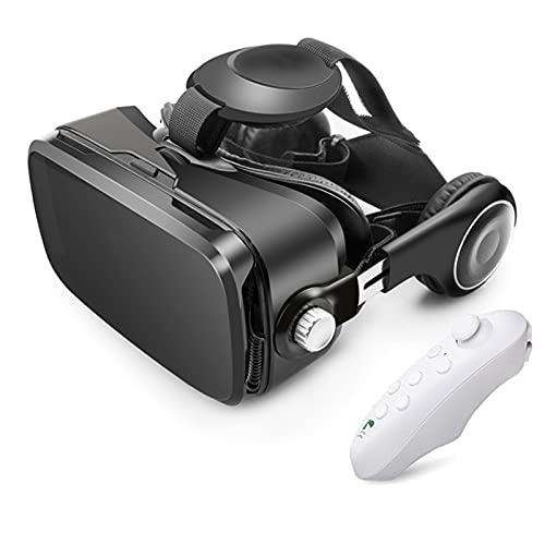 YMXLXL 3D VR Gafas de Realidad Virtual, VR Glasses Visión Panorámico 360 Grado Película 3D Juego Immersivo para Móviles 4.0-6.0Pulgada,Gafas VR con Auriculares,B