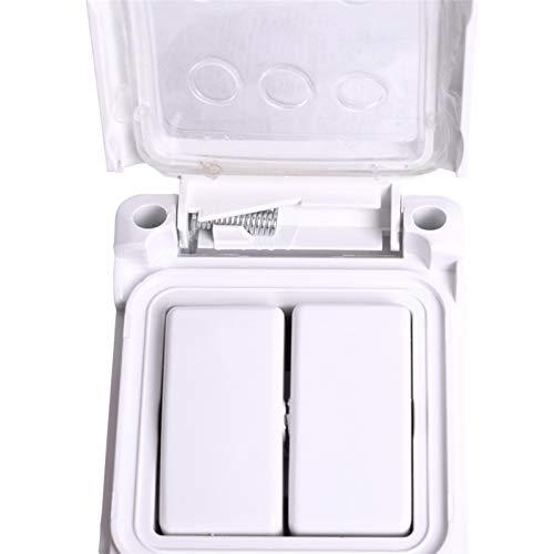 Interruptor de pared externo a prueba de polvo a prueba de polvo a prueba de polvo IP44 de nivel IP44 2 interruptor de luz de encendido/apagado (Color : White, Number of Gangs : 2 Gang)