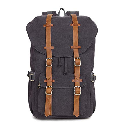 Outdoor 25L Mountaineering Hiking Cotton Canvas Backpack Camping Hiking Travel Running Backpack-Gray