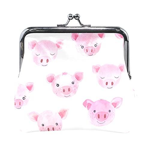 Monedero para mujer con diseño de cerdo rosa para mascotas, juguetes para mascotas, monedero para mujer con cierre de beso para mujeres y niñas de 4.5 x 4.1 pulgadas