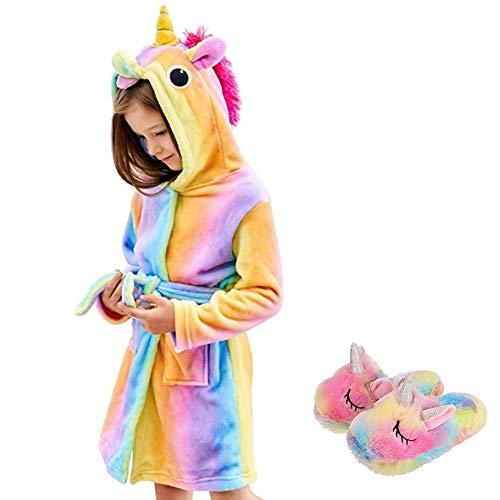 Ruiuzioong Kinder Sanft Einhorn Kapuzenbademantel und Einhornschuhe Mit Kapuze Bademantel Nachtwäsche Einhorn-Geschenke für Mädchen (Rainbow, 10-11T)