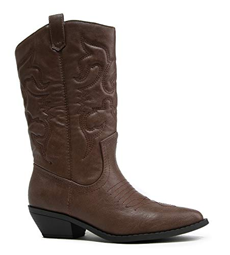 J. Adams Lasso Knee High - Western Cowboy Embroidered Pointed Toe Pull On Boot Dark Tan
