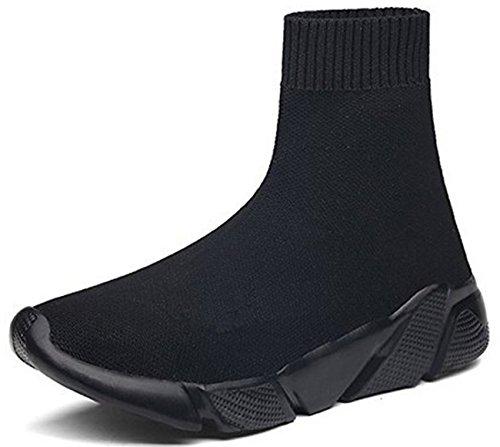 NEWQSING Mode Unisexe Slip-on Haute Coupe Marche Formateurs Confort Couple Mocassins Chaussures Tricot Gym Baskets