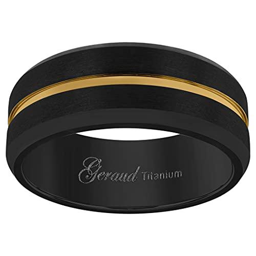 JewelryWeb - Alianza de Titanio para Hombre, Color Negro y Amarillo, Borde Biselado, Ajuste cómodo, 8 mm, Talla X 1/2