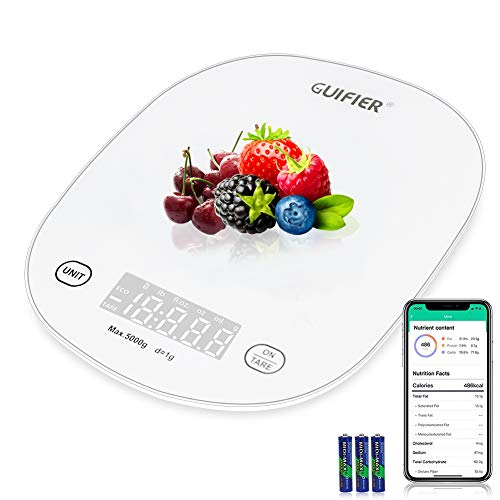 GUIFIER Balance Alimentaire Intelligente avec Application pour Smartphone - Balance de Cuisine Numérique Étanche de 5 KG et oz, Graduation Précise de 1 g / 0,1 oz, Acier Inoxydable et Verre Trempé