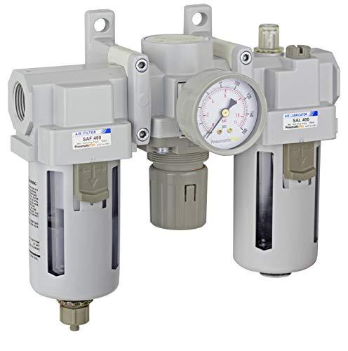PneumaticPlus SAU400-N06G Compressed Air Filter Regulator Lubricator Combo 3/4' NPT - Poly Bowl, Manual Drain, Bracket, Gauge