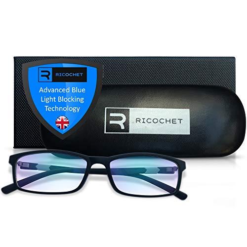 Ricochet® Bril Met Blauw Licht-Filter Technologisch geavanceerde bril tegen blauw licht voor Veiligheid bij Computer of Gaming. Unisex Designerbril in Cool Grafiet Zwart