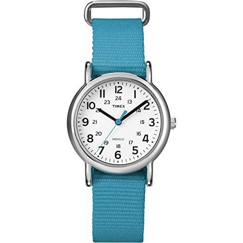 Timex Women's T2N836 Weekender Blue Nylon Slip-Thru Strap Watch