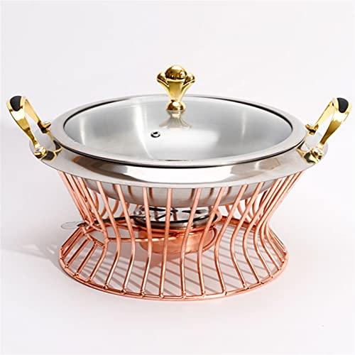 Pot caliente Conjunto de hotpot de acero inoxidable Mini Hotpot Pot Holder Tapa de vidrio templado Gold Silver Silver Plato Buffet Pan de comida Bandeja Calentador freidora ( Color : S 22CM Copper )