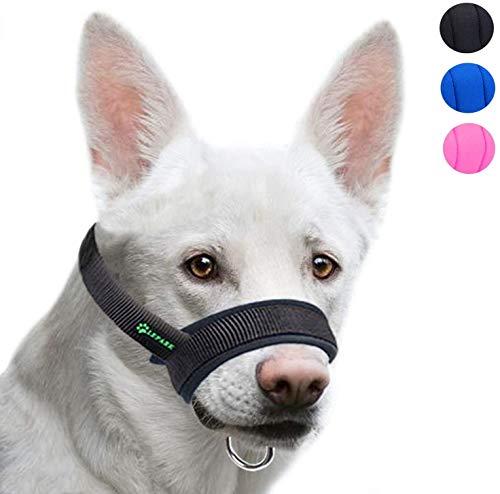 ILEPARK Maulkorb aus Stoff um Hunde vom Beisen, Bellen und Kauen abzuhalten, anpassbare Hals,Atmungsaktiv(M,Schwarz)
