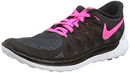 Nike Free 5.0, Damen Laufschuhe, Schwarz (Black/Pink Pow/White), 37.5 EU