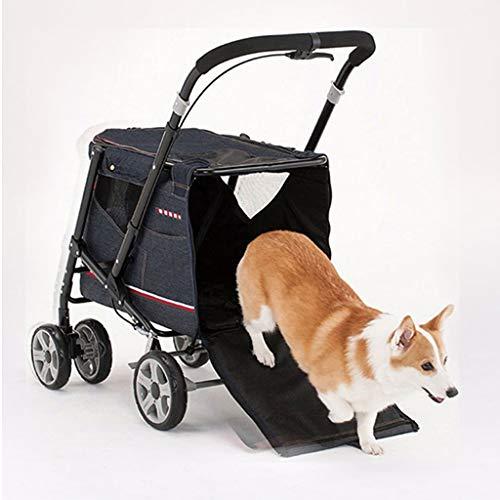 DFLY Cochecito De Paseo con Ruedas para 4 Ruedas, Sillas De Paseo Plegables Y Ligeras para Mascotas para Gatos Y Perros Pequeños Y Medianos De hasta 30 Kg, Accesorios para Mascotas