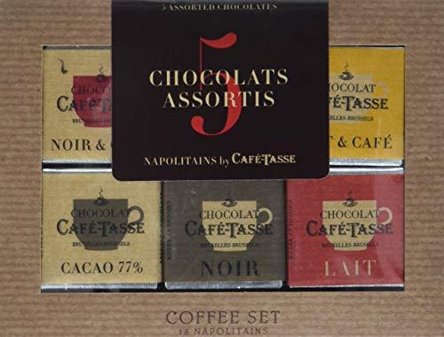 """Café Tasse Geschenkbox """"Coffee Set"""" mit 5 verschiedenen Schokoladen Napolitains, 1er Pack (1 x 90 g)"""