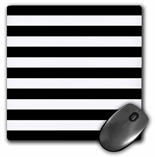 3dRose LLC 8 x 8 x 0.25 Inches Mouse Pad, Stylish Contemporary Stripes Black/White (mp_56663_1)