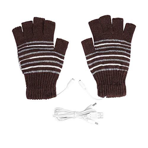 Petyoung Guantes con calefacción USB para hombres y mujeres, guantes de lana, guantes calentados de lana, guantes calientes, sin dedos, lavables (marrón oscuro)