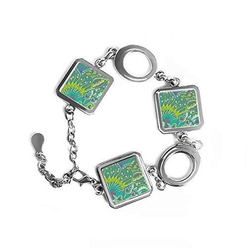 Línea Dibujo Abstracto verde peces de forma cuadrada de metal pulsera