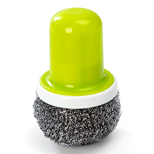 MXECO Edelstahl Kugelbürste mit Griff Reinigungsbürste für Küchen Starke Reinigungsmittel für Haushalt für Bowl Pot Dish (grün)