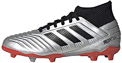 adidas Unisex-Kid's Predator 19.3 Firm Ground Soccer Shoe, Silver Metallic/Black/hi-res red, 4 M US Big Kid