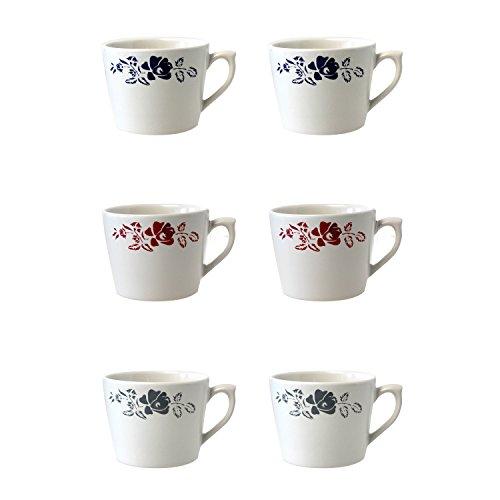 Depot d'argonne Rose Motif 6 Tasses à Cappuccino, en CÉRAMIQUE, Bleu/Rouge/Gris, 11 x 9 x 7 cm
