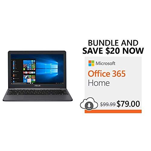 ASUS VivoBook L203MA Ultra-Thin Laptop, Intel Celeron N4000 Processor, 4GB RAM, 64GB eMMC Storage + Save $20 on Microsoft Office 365 Home