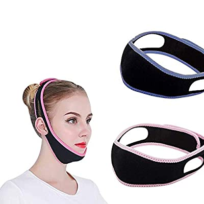 Facial Slimming Strap,Face Lifting Belt, Double Chin Reducer, V Line Lifting Chin Strap Anti Wrinkle Belt for Women Eliminates Sagging Skin Lifting Firming Anti Aging-PACK of 2 from Cosswe