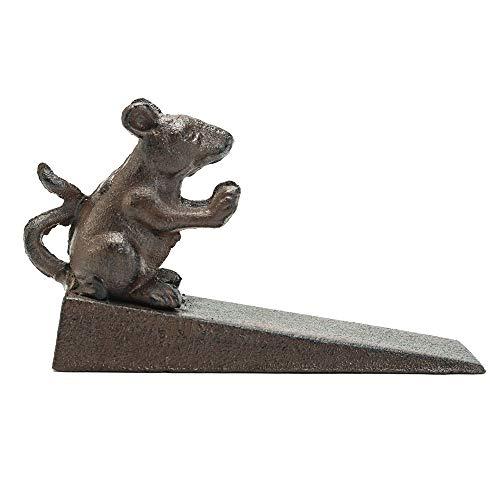 Sungmor Topes de Puerta de ratón Vivo de Hierro Fundido para Trabajo Pesado   Estilo Antiguo   Decorativo Lindo Animal Estatua Puerta tapón cuña   Soporte de Puerta a Prueba de Viento