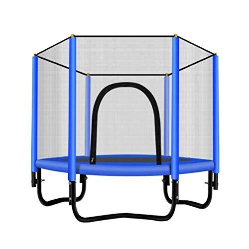 Outdoor-Trampolin, Heim Kind Ausdauertraining hohe Absprungtrampolin, mit Schutznetz Sicherheit Keiner Roll Schwerelosigkeit Bouncer Last: 200 kg (Color : Blue)