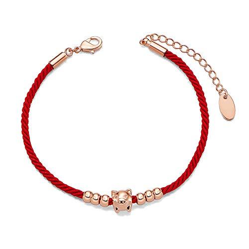 SHEGARCE Red Rope Pulsera Cobre Chapado en Oro Rosa Brazalete con Cerdo, Joyas para Mujeres Niñas, Regalo para El Día de San Valentín La Navidad El Cumpleaños