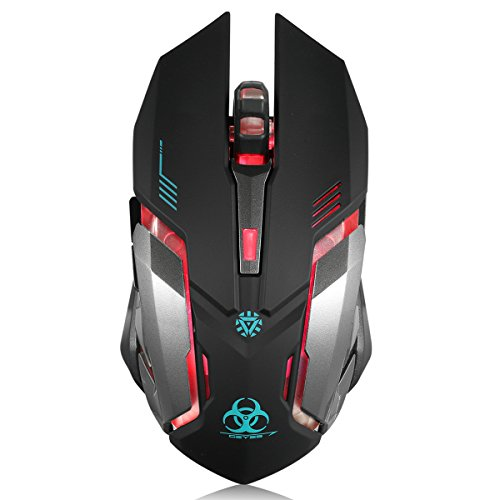 ▶Adopted advanced technology, it can not only provide reliable wireless connection but also an accurate tracking. Allowing you move your gaming mouse freely without interference within 10m. ▶Soundless Clicking Mouse: Both left and right keys are sile...