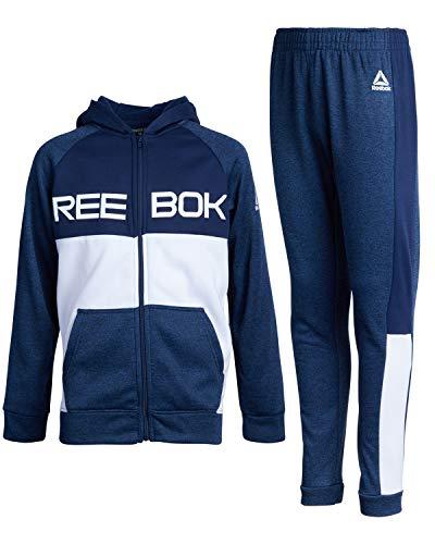 Reebok Boys' 2-Piece Athletic Fleece Tracksuit Set with Zip Up Jacket and Jog Pants, Navy/White, Size 12'