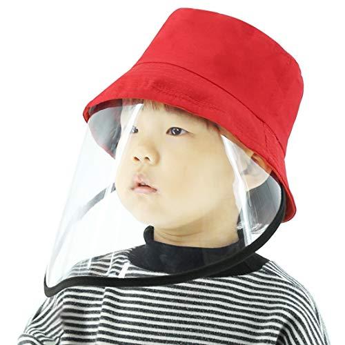GAOPENGSA Anti-escupir Anti-Niebla Anti-Oil Cap Protector Niños Fisherman Hat Escudo Facial extraíble (Negro) (Color : Red)