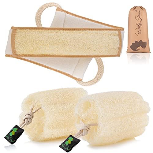 "Premium Egyptian Natural Loofah Sponge Eco-Friendly Shower Exfoliating sponge (6.5"" x 6"") 2 Larg biodegradable Lufas + Exfoliating Back Scrubber (36"" x 4"") Body Exfoliater Organic Puff Away Dead Skin"