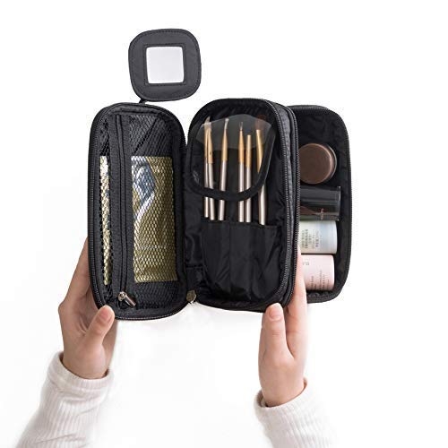 WUHUA Portable Makeup Bag, Double Layer Cosmetic/Toiletry Brush Bag for Women, with Mirror Travel/Train Kit Organizer, Professional Makeup Pouch Purse for Travel Home
