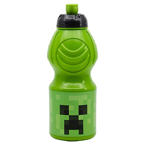 MINECRAFT | Botella de Agua Infantil con cierre antifugas | Cantimplora Reutilizable para niños con tapón anti goteo - Libre de BPA - 400 ML